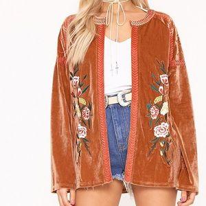 Floral embroidered velvet jacket
